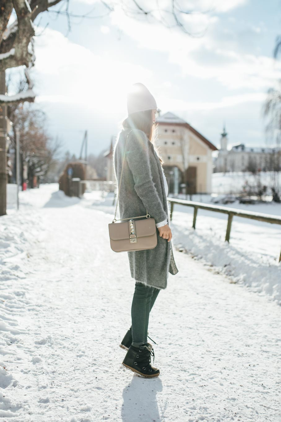 OUTFIT: Let it snow!   Sandro Lace Blouse, Valentino Rockstud Lockbag, Grey Cardigan, Rosé Beanie, Isabel Marant Nowles Boots   You rock my life