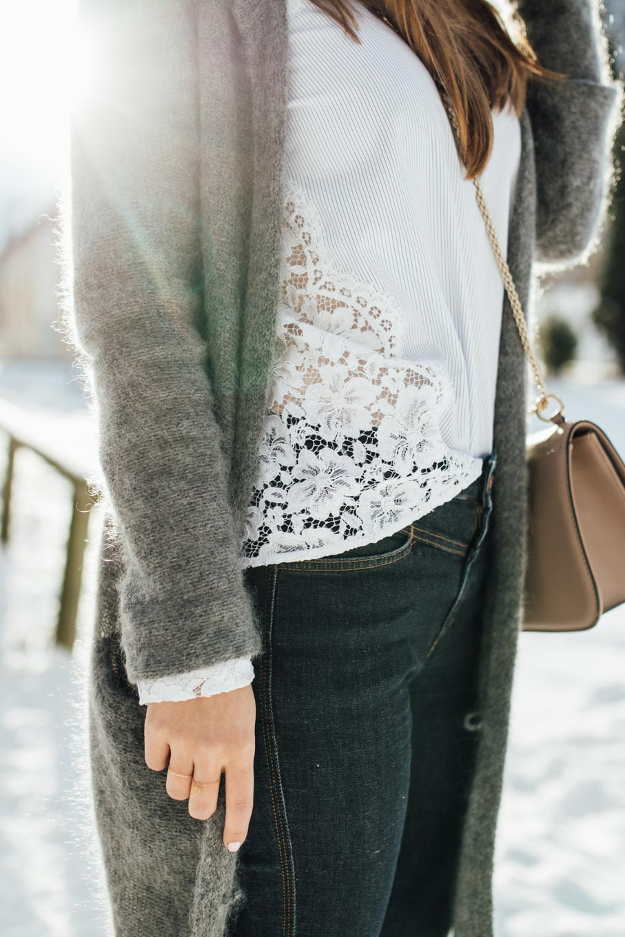 OUTFIT: Let it snow! | Sandro Lace Blouse, Valentino Rockstud Lockbag, Grey Cardigan, Rosé Beanie, Isabel Marant Nowles Boots | You rock my life