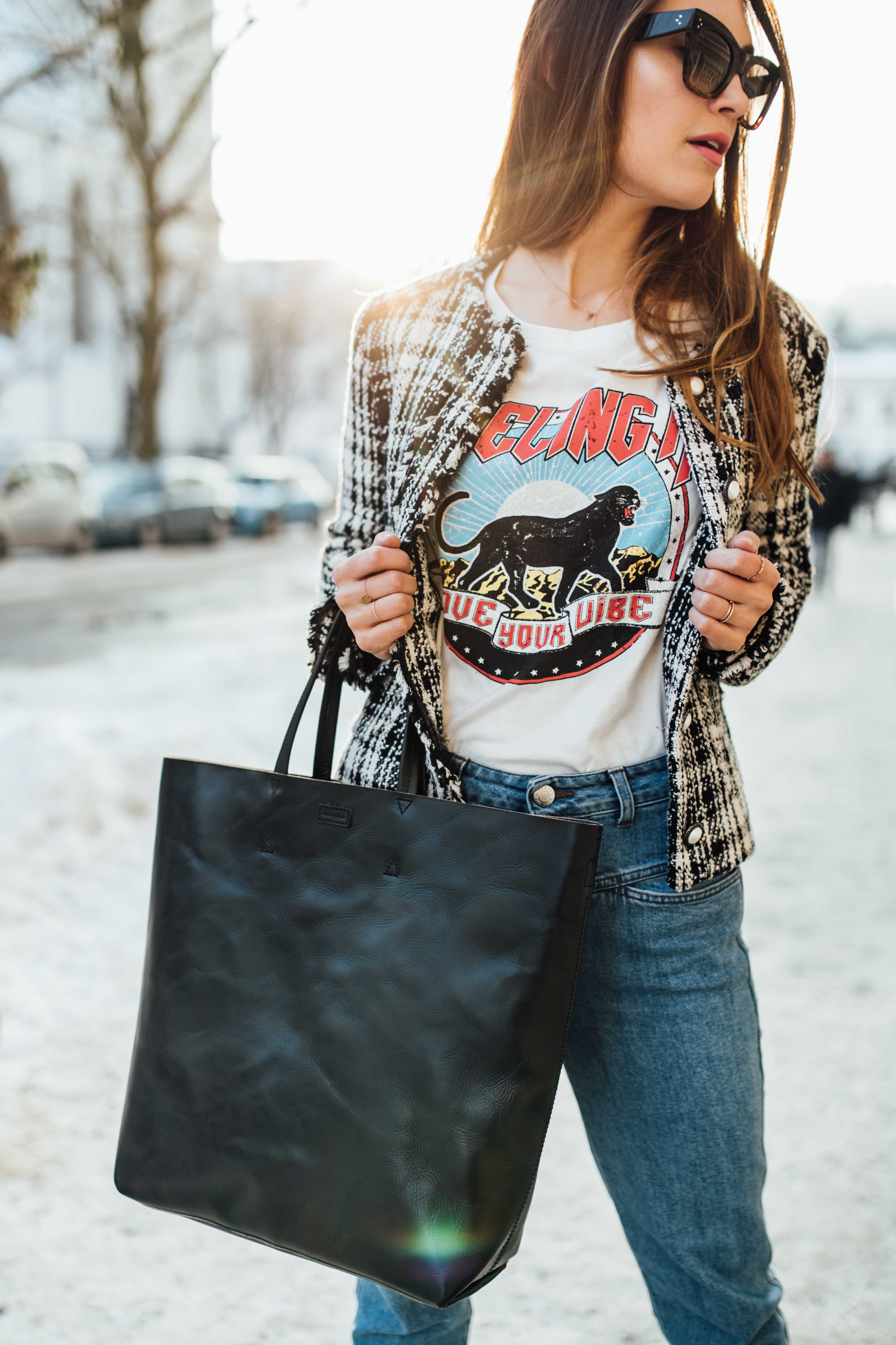 OUTFIT: Marc O'Polo 50'Bag, Céline Catherine Sunglasses, Closed Jeans, Zara Blazer, H&M Band T-Shirt | You rock my life by Nina Wro