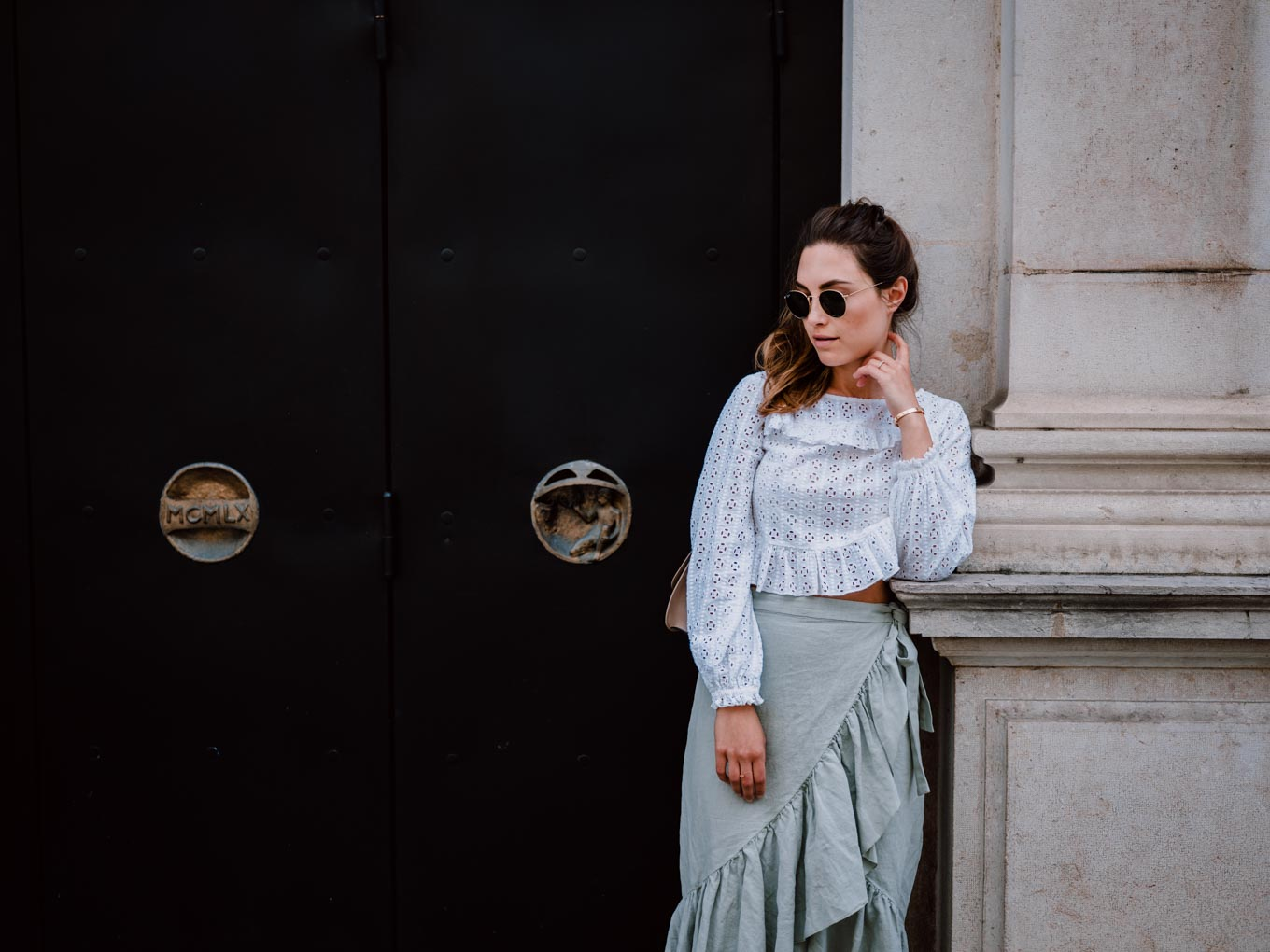 Outfit: Mint Green Linen Skirt with frills   You Rock My Life