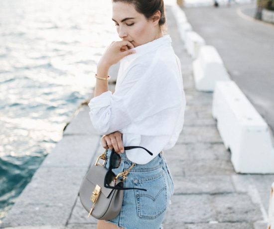 Outfit: Rough Linen & Vintage Denim, Levis Jeans Shorts, Linen Shirt, Chloé Drew Bag, Cartier Love Bracelet