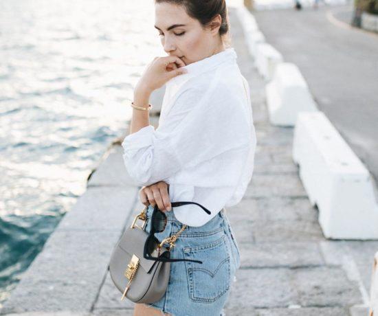 Outfit: Rough Linen & Vintage Denim, Levis Jeans Shorts, Linen Shirt, Chloé Drew Bag, Cartier Love Bracelet