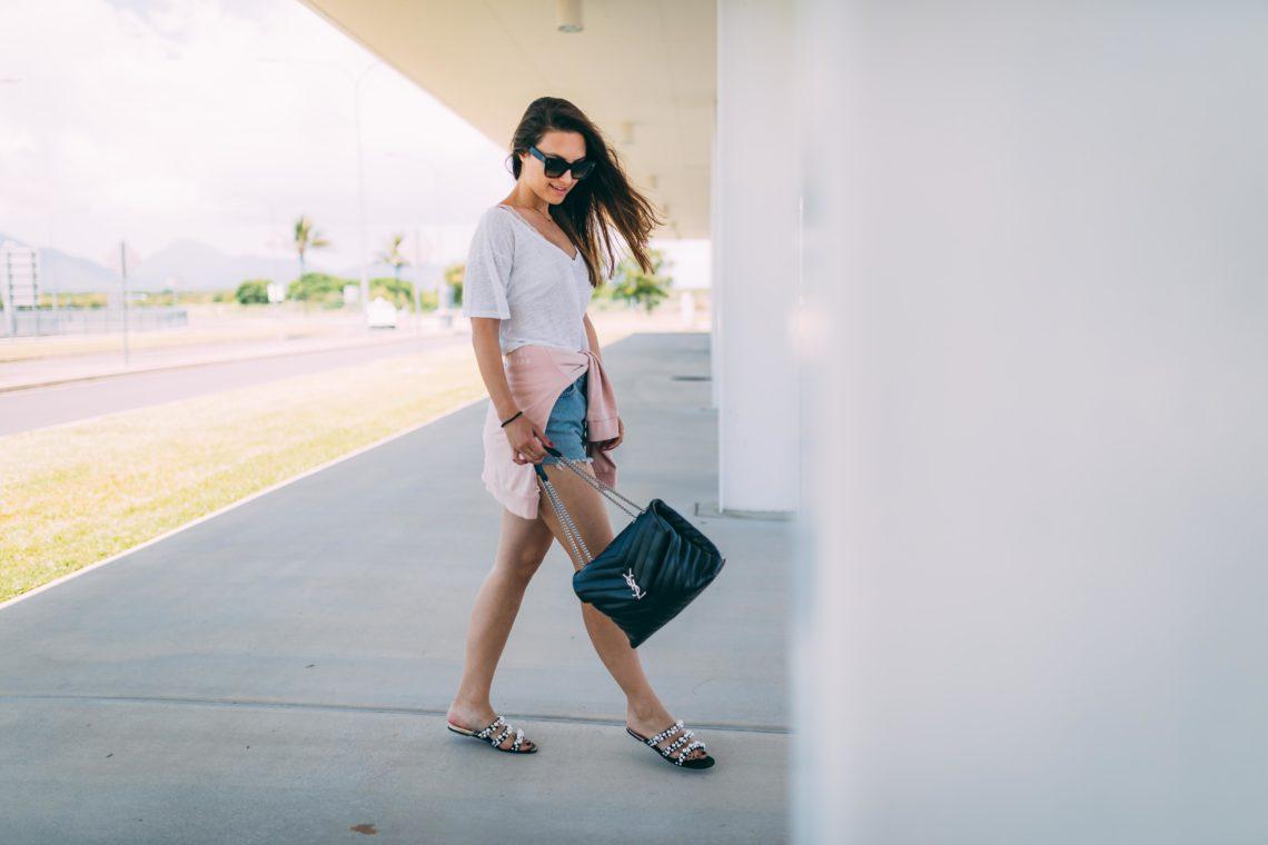 Outfit: Airport Attire   Levi's vintage denim shorts, sweater, Saint Laurent bag, Australia   You Rock My Life