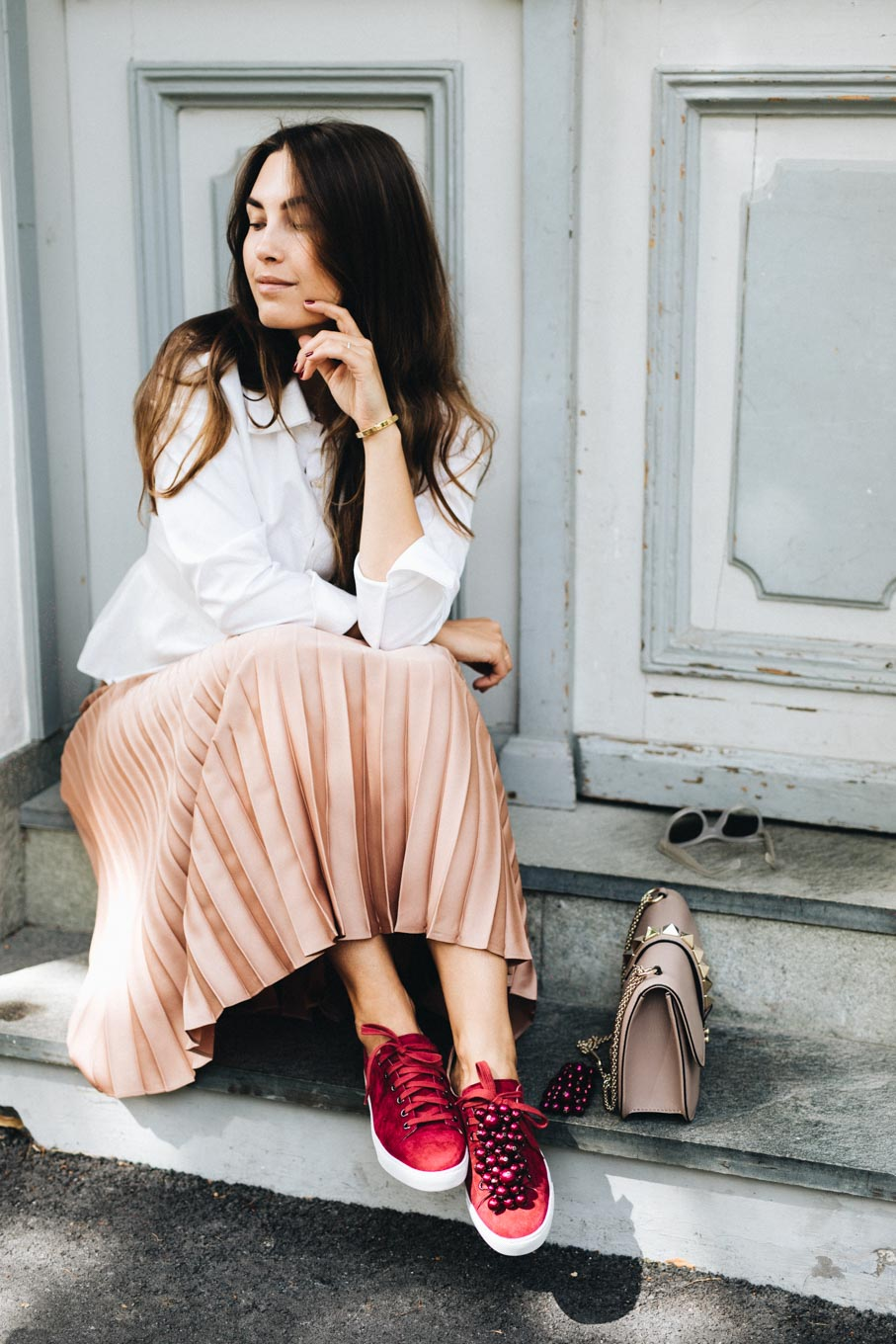 Outfit: Favorites For Fall | Pleated Skirt & Sneakers | You Rock My Life