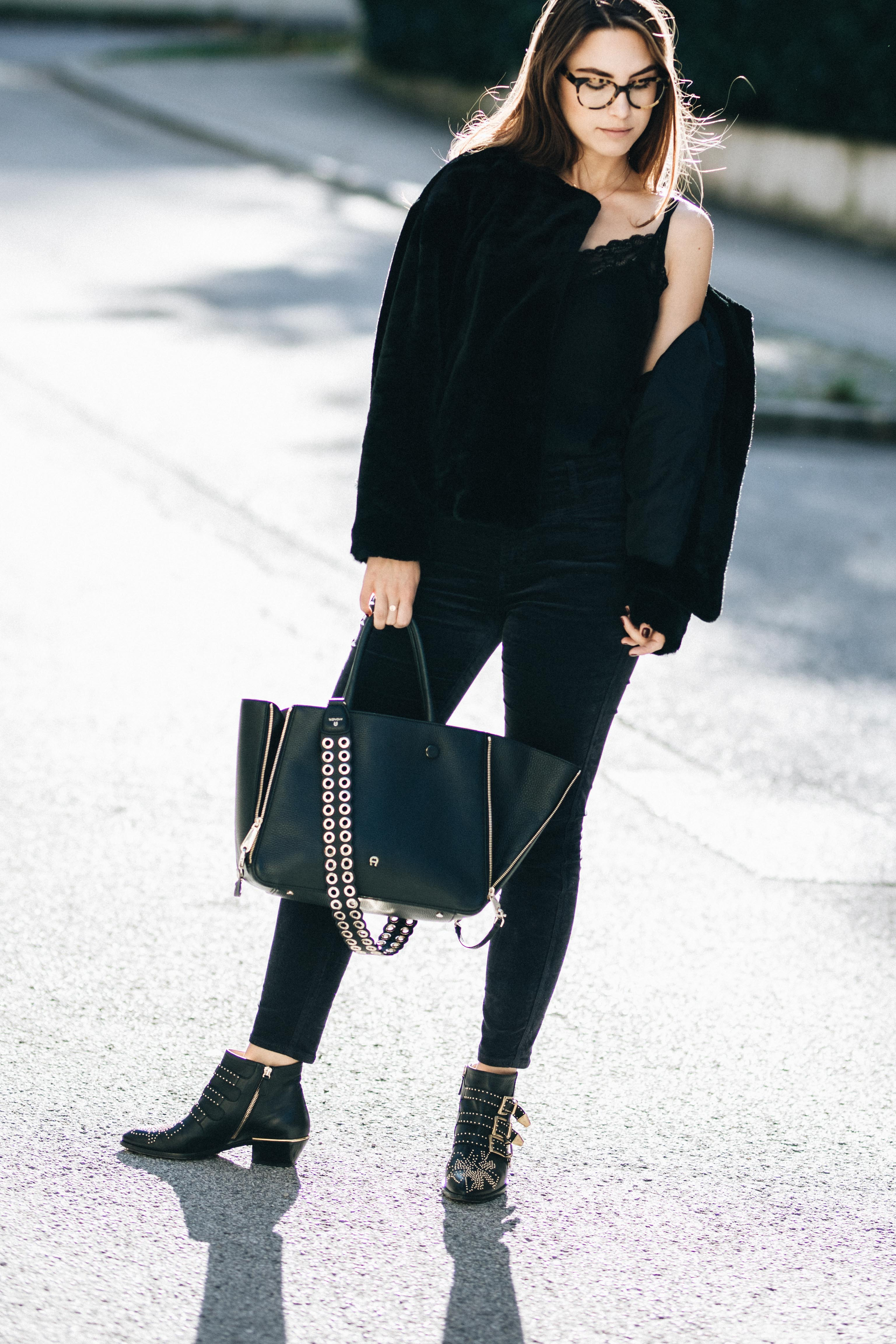 Outfit: How to wear black from head to toe without looking boring | You rock my life