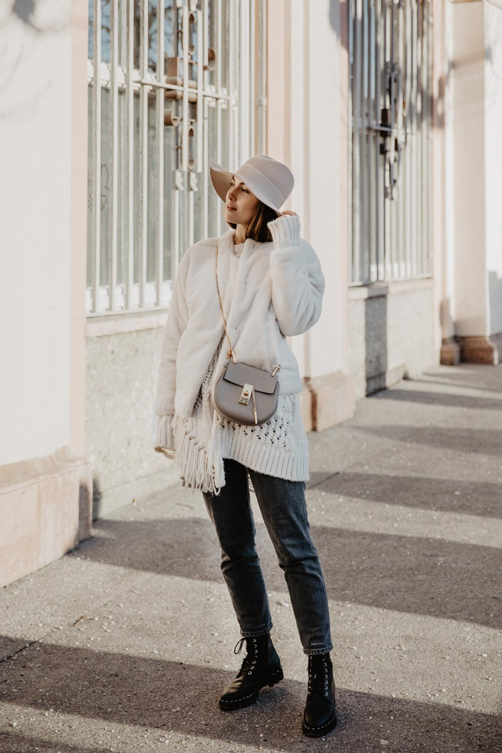Chloé Drew Bag, Closed Pedal Pusher Jeans, Teddy Faux Fur Jacket, Lace Up Boots, Hat | yourockmylife
