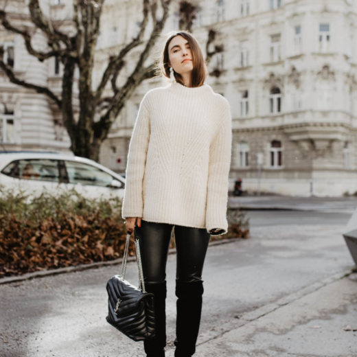 Outfit: Ash Overknee Boots, Artitzia Daria Leather Pants, Closed Alpaka Pullover, Saint Laurent Loulou bag | you rock my life