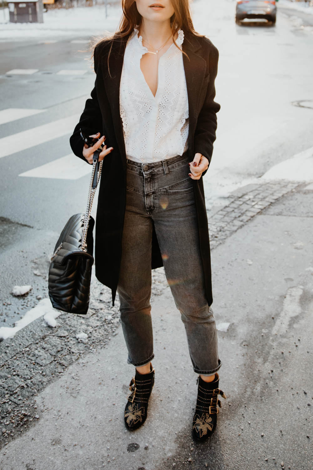 OUTFIT: Chloé Susanna Boots, Saint Laurent Lou Lou Bag, Closed Pedal Pusher Jeans. Sandro Coat | Lent | you rock my life