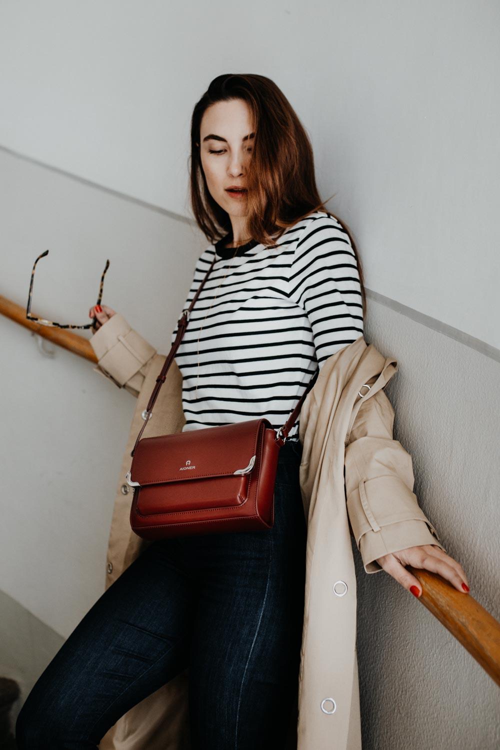 Edited Trench Coat, Edited Striped Shirt, Aigner Amber Bag, Chanel Slingbacks, Selfnation Jeans   TimelessFashion Classics - You Rock My Life