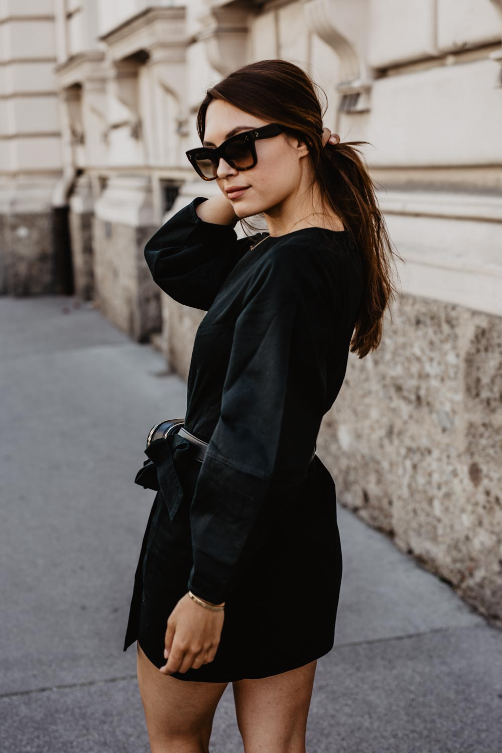 Outfit: The New Black | Aigner Diadora Belt Bag, Castaner Chiara Wedge Heels, Edited Dress, Céline Sunglasses | you rock my life