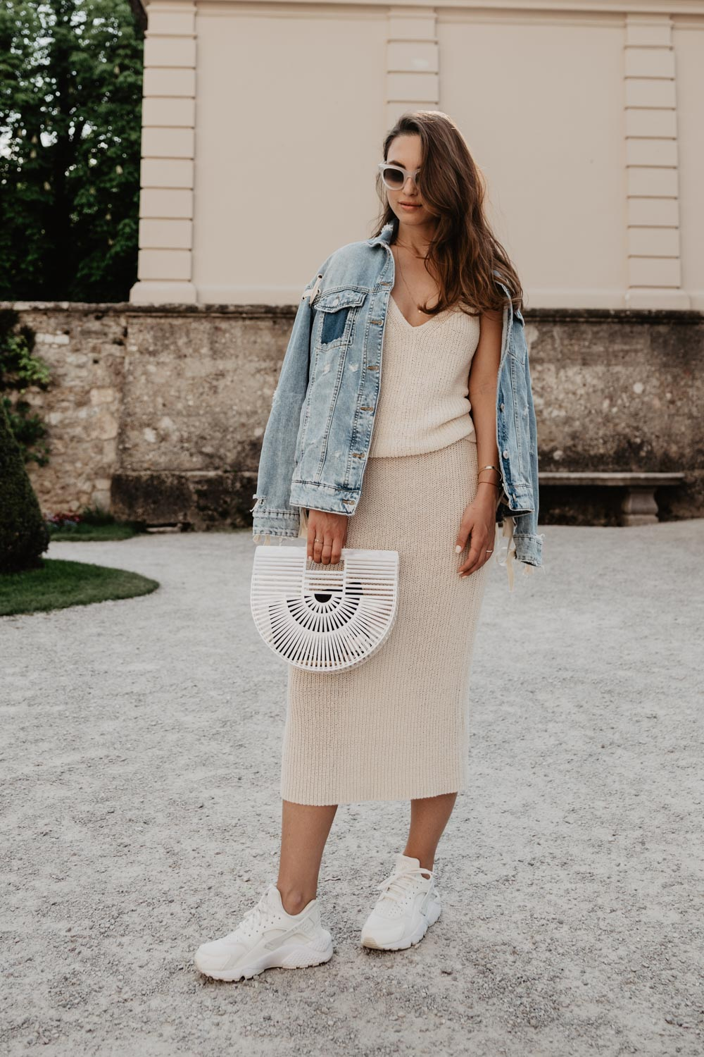 Outfit: The Lost Outfit | Cult Gaia Ark Bag, Nike Huarache, Knit Skirt, Denim Jacket, Céline Sunglasses | you rock my life | ninawro